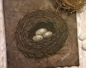 "Hand painted | Great Expectations Bird's Nest | Ceramic Tile | 8"" x 8"" 
