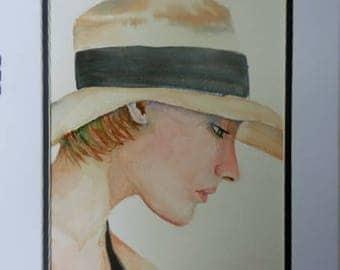 Shady Lady,  Original Watercolor, women portraits