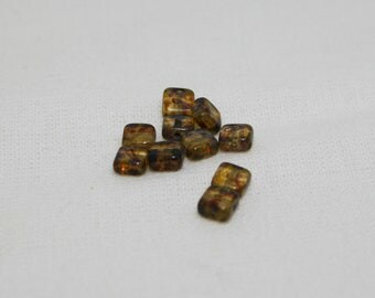 10 Amber 5mm Czech Glass Squares