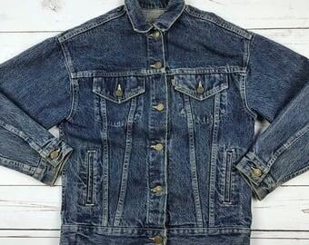 VTG 90s Levi's Retro Denim Jean Jacket Dark Wash Womens S/M