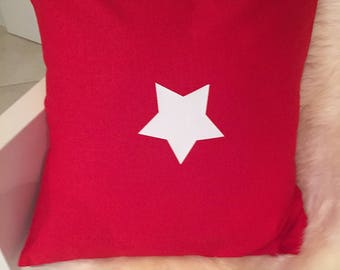 """antiqued"" red linen pillow cover"