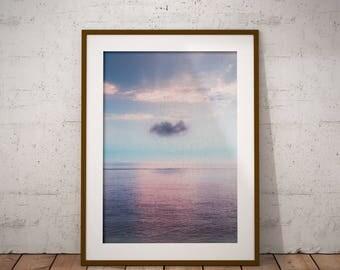 Ocean Photography, Beach Wall Art Print, Ocean Water Sunset, Coastal Decor, Digital Download, Large Printable Poster, Color Photography, Art