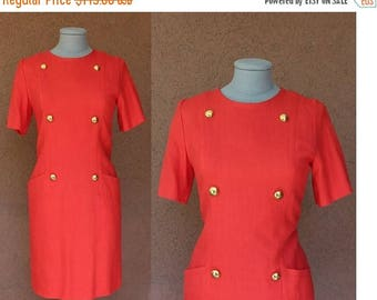 Summer Sale Red Givenchy Dress – Vintage Givenchy Midi Dress – Officier 60's Dress Size S