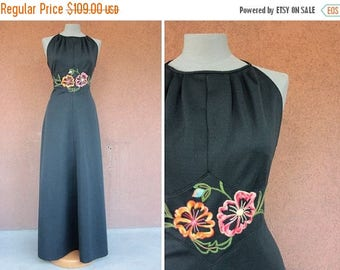 Summer Sale 1970's Halters Evening Gown – 70's Maxi Evening Gown – Floral Motif –Size S