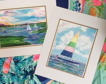 Pastel Sailboats are bright and colorful.  Both prints are available for 50.00. Print measures 12 x 18