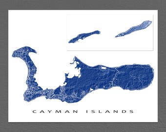 Cayman Islands Map Print, Grand Cayman, Little Cayman, Cayman Brac, Caribbean Map Art