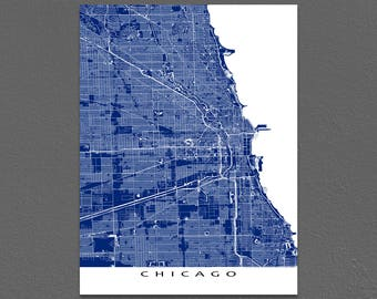Chicago Map Print, Chicago Art, Chicago Illinois, City Street Map Art