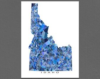 Idaho Map Print, Idaho State Art, ID Wall Decor