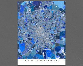 San Antonio Map Print, San Antonio Texas, USA City Maps