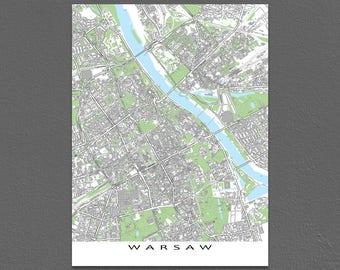 Warsaw Poland Map Art Print, Warsaw City Maps, Europe