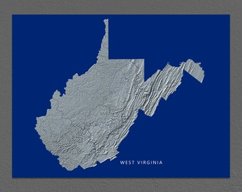 West Virginia Map, West Virginia Wall Art, WV State Art Print, Landscape, Navy Blue