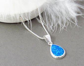 925 Silver Blue Opal Pendant, Oval Silver Pendant, Blue Opal Necklace, Blue Opal Jewellery, Opal Jewelry