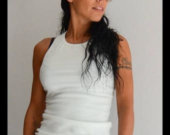 ON SALE Tank Top / White tank top / Open back top / racer back tank top
