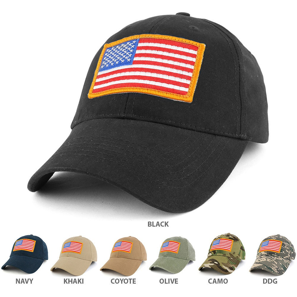 USA Gold American Flag Embroidered Tactical Patch with Adjustable Operator  Cap (EC-70608- 7b360b683c0