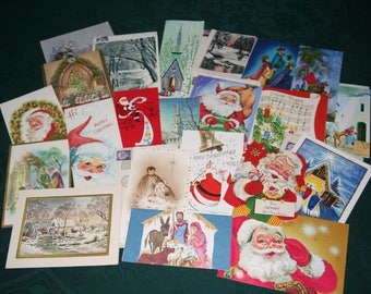 Vintage Christmas Card Collection #1, 22 cards from 1930's to 1970's