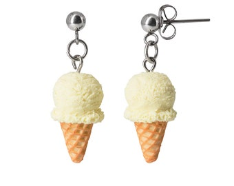 Handmade Vanilla Ice Cream Waffle Cone Dangle Stud Earrings, Ice Cream Earrings, Ice Cream Jewelry, Cute earrings