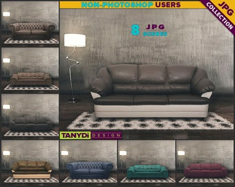 Living Room SC-06 | Leather Sofa Dark Interior | 8 JPG Blank Living Room Wall Styled Scenes | Wall Decor Scene Creator
