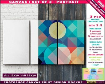 12x20 Set of 3 Canvas | Triptych 36x20 | Photoshop Print Mockup | Movable Unframed Portrait | Bricks Wood Wall | Smart object Custom colors