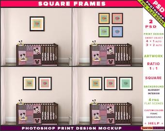 Nursery Interior Photoshop Print Mockup S-N2 | Square Set of 2 3 4 Dark Wooden Frames | Dark wood crib | Smart object Custom colors