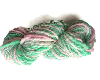 Super bulky yarn - merino wool - bulky yarn - mint green and pink -handspun yarn