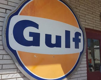 Large Porcelain Gulf Gasoline tin advertising sign