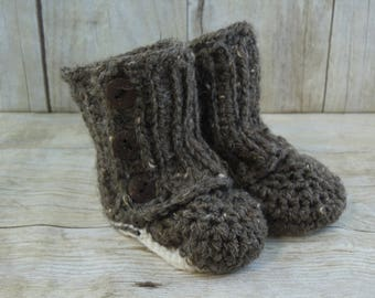 Brown Tweed Crochet Baby Wrap Boots - Crochet Booties - Birth Announcement - Gender Reveal - 2 Sizes
