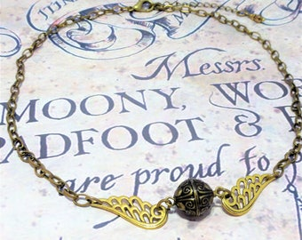 The Golden Snitch Necklace ~ Quidditch Game Harry Potter Inspired Jewellery Bronze Chain Costume Jewelry