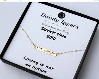ON SALE Breast Cancer Awareness Necklace / Cancer Survivor Gift / Survivor Necklace / Quote Bar Necklace / Gifts for Cancer Patients / Fuck