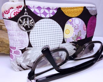 Wide Glasses Case, Eyeglasses Pouch, Vintage Print Sunglasses Case, Cute Zipper Pouch, Fabric Glasses Case, Soft Eyeglass Case