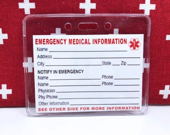 Medical Emergency Card, With or Without Heavy Duty Vinyl Holder, Add on Item