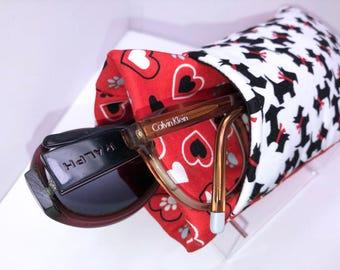 SCOTTY TERRIER Double Eyeglass Case, Double Pocket Sunglasses Pouch, 2 Pocket Eyeglasses Case, Eyeglasses Organizer