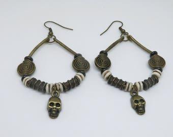 Pirate Steampunk Brass Skull Earrings, Skull earrings, Brass earrings, Festival Jewelry