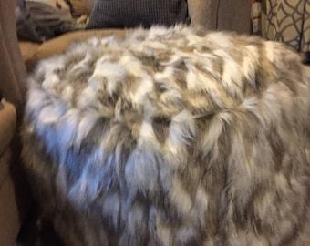 Faux Fur - Floor pillow - Ottoman - Floor cushion - Tibetan sand fox floor pillow - Pouf - Floor pouf - Round pouf