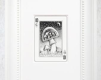 "Mushroom Art Print, Mushroom art, Whimsical Art print, Fairy tale, fantasy art, Playing Card Art, Matted Art Print, ""The 10 of Mushrooms"""