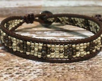 Bohemian Bracelet / Leather Wrap Bracelet / Bead Loom Bracelet / Chan Luu Style / Seed Bead Bracelet