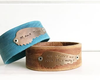 Hand stamped leather cuff, wing, custom, rustic, brass, geniune leather, boho