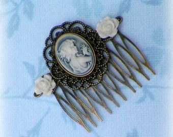 Cameo Hair Comb Bridal Victorian Roses Blue White Gyspy Boho Vintage Style Steampunk Wedding Gothic Bohemian