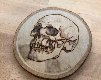 Skull Coaster - mini woodburning