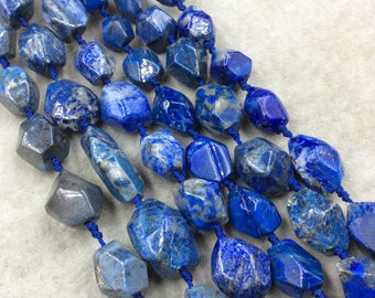 """Natural Lapis Lazuli Faceted Freeform Nugget Beads - Sold by 15.5"""" Strands (~20 Beads per Strand) - Measuring 12-18mm x 15-25mm, Approx."""