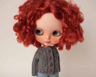 Blythe cardigan, Grey cardigan for Blythe doll, Blythe clothes, Blythe sweater, Blythe fashion, Blythe grey outfit, Blythe grey clothes