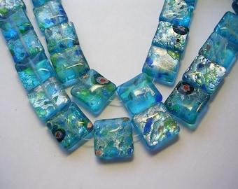 Millefiori Beads 14mm Lampwork Square Tile Beads 28 Aqua Millifiori flat Blue Silver Foiled Millefiori Lampwork Glass