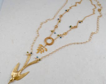 Double Gold Necklace Set, Flying Golden Sparrow with Swarovski Crystals, Shorty Gold Leaf Necklace with Swarovski crystals & Filigree ring.
