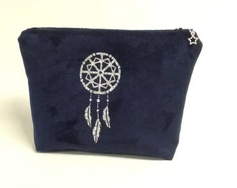 Pouch Navy/Blue Navy with silver dream catcher / Dreamcatcher dream/Pocket sequin/Pocket suede Navy/gift idea for woman