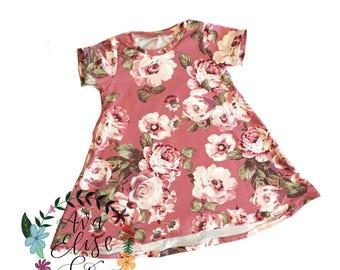 Toddler- Floral t shirt dress