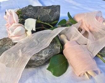 ROSE BLUSH hand dyed silk habotai ribbon / plant dyed / eco dyed / wedding ribbon / styling ribbon / photo prop / pure silk ribbon