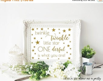 20% OFF GOLD TWINKLE Twinkle Little Star First Birthday , Twinkle Little Star First Birthday Decorations , Mr Onederful , Printable Sign , D
