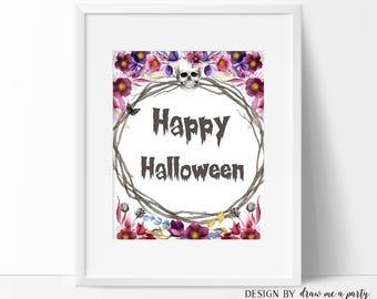 Happy Halloween Sign, Happy Halloween Art, Halloween Decor, Halloween Poster, Halloween Printable Art, Instant Download
