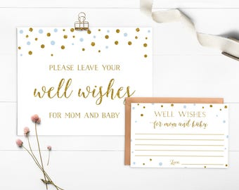 Blue and Gold Baby Shower Wishes For Baby, Boy Baby Shower, Well Wishes For Mommy and Baby, Wishes Cards, Printable - CG5