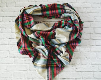 Blanket scarf - Fall scarf - Plum scarf - Flannel scarf - Large scarf - Full scarf - Plaid scarf - Christmas Scarf