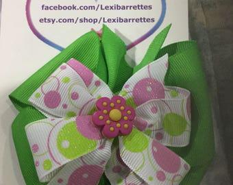 Stacked hair bow/ Green hair bow/ white hair bow/ pink hair bow/ bubble glitter hair bow/ alligator clip hair bow